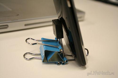 подставка для айфона из зажимов для айфона лайфхак