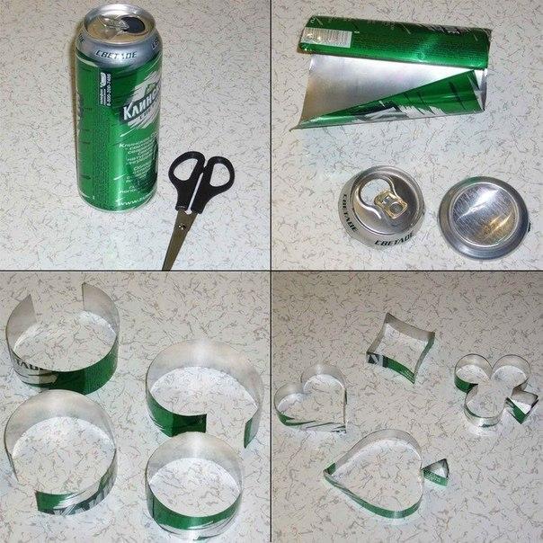 вырезаем из жестяной банки пива или кока колы форми для печенья