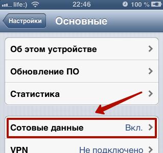 сотовые данные айфона