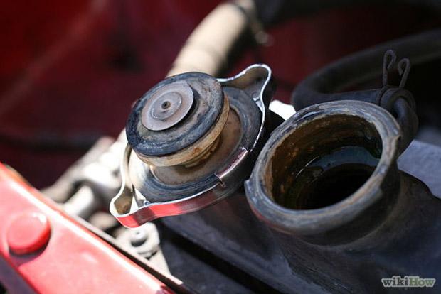 после того как залили тосол включите двигатель и откройте крышку радиатора