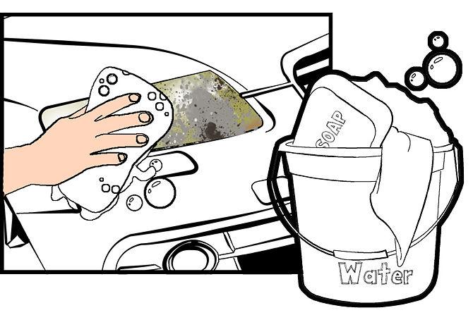 Вымойте внешнюю поверхность фар мыльной водой