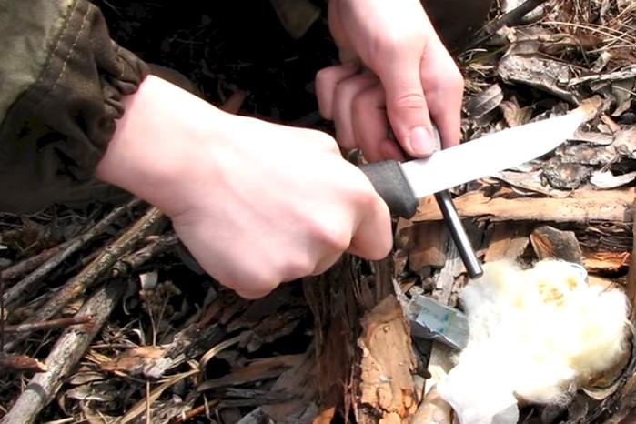 разжечь костер с тампоном