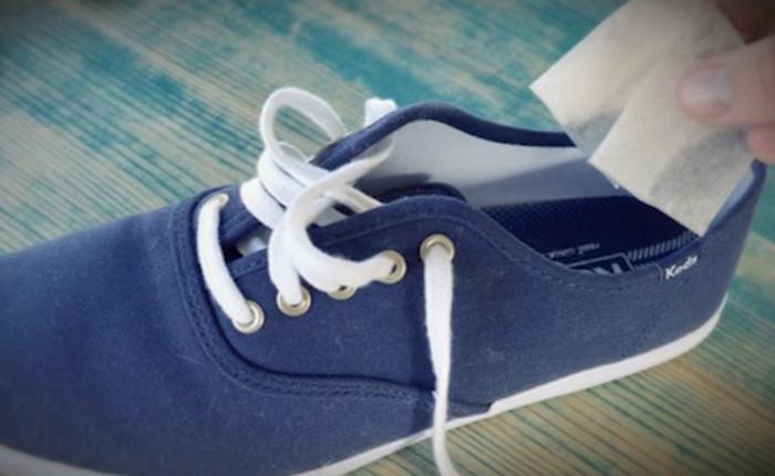 пакетики чая в обуви