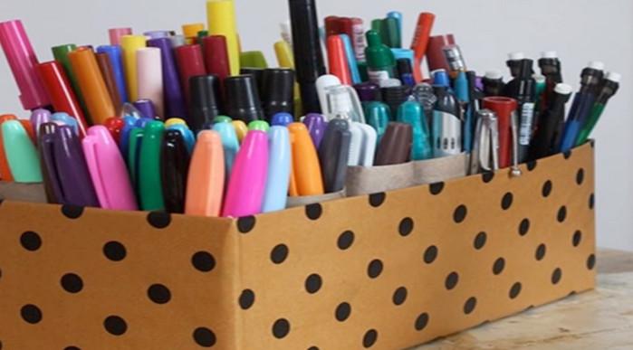 органайзер для карандашей из втулок