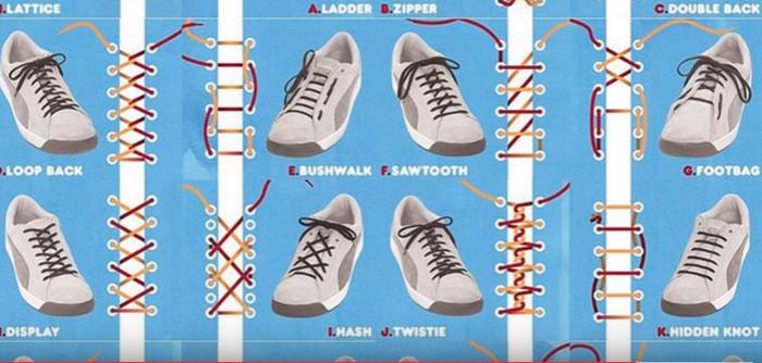 схемы завязывания шнурков
