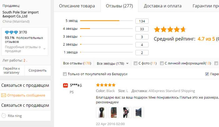 характеристики продавца на Aliexpress