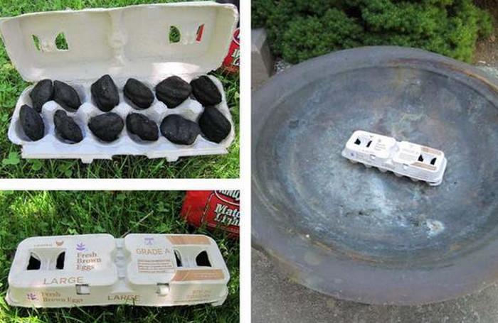картонная коробка из-под яиц с углями
