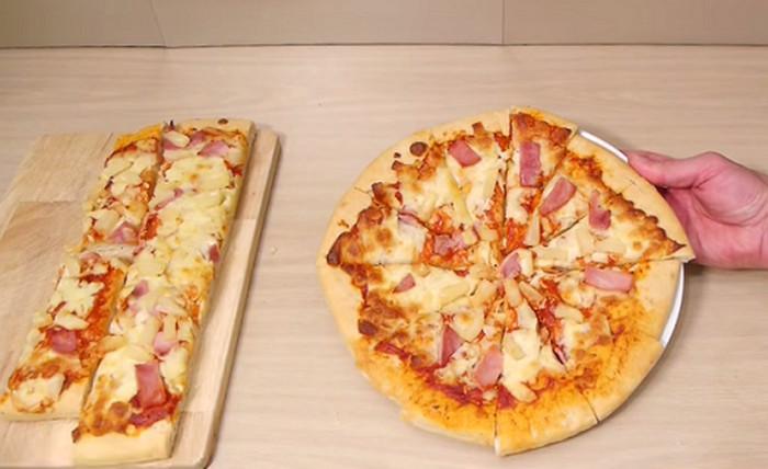 разрезанная на кусочки пицца