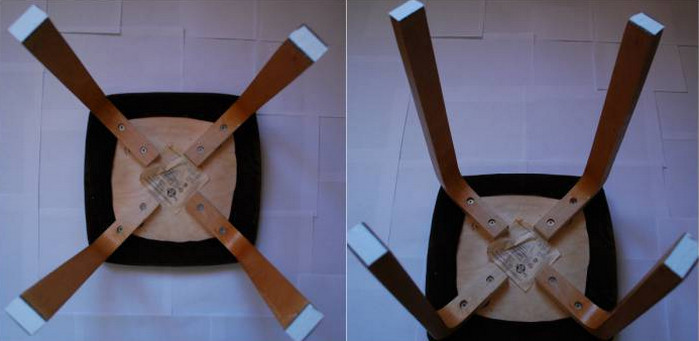 заклеенные пластырем ножки стула
