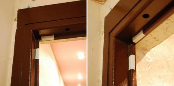 заклеенный пластырем торец дверной коробки