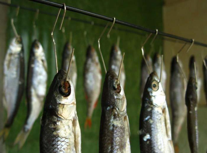 рыба сушится на крючках