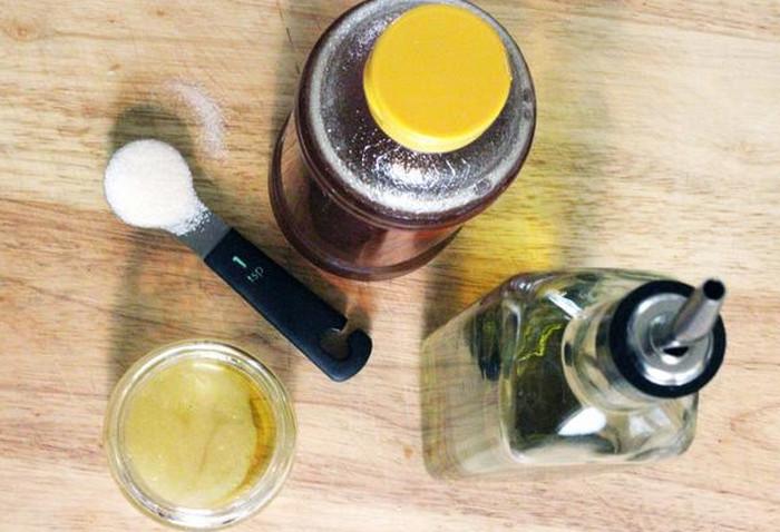 мед, сахар и оливковое масло