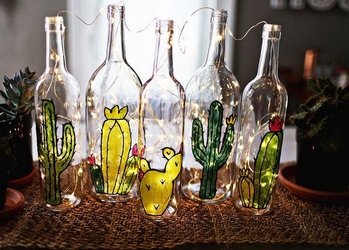 рисунок витражными красками на бутылках