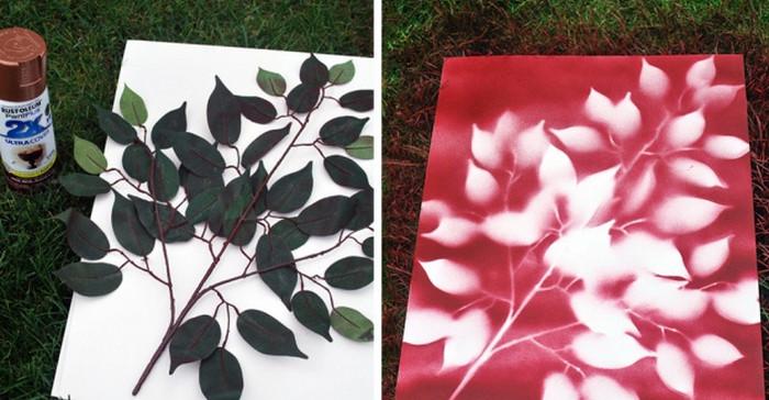 ветка с листьями на холсте