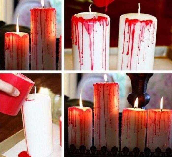"""белая свеча с """"кровавыми"""" подтеками"""