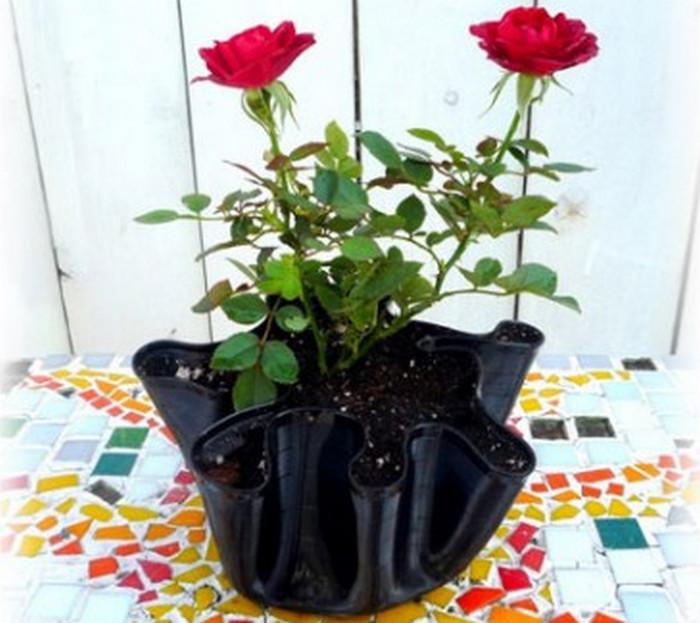 цветочный горшок из виниловой пластинки
