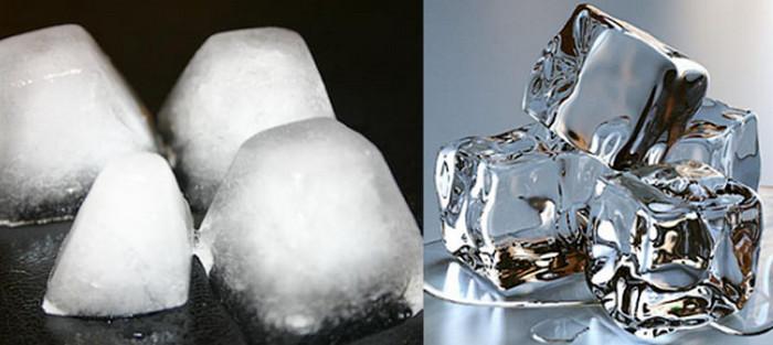 кубики мутного и прозрачного льда