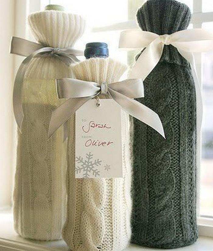 бутылки в вязаных чехлах