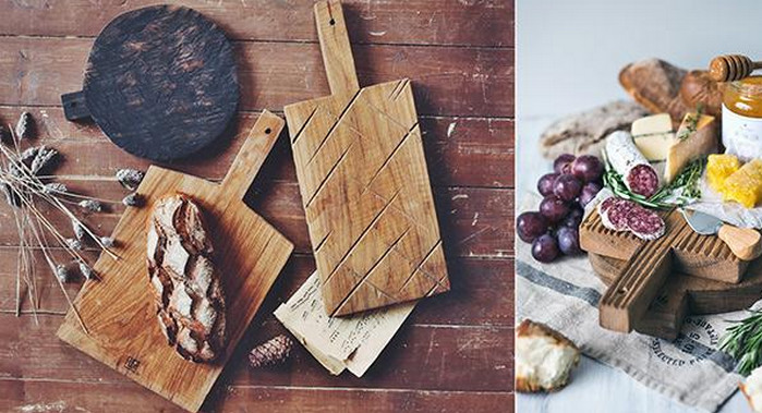 еда на деревянной доске