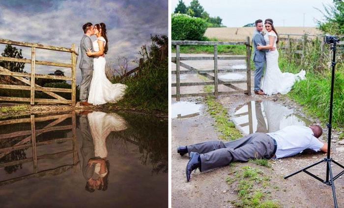 фотограф лежит на земле для удачного кадра