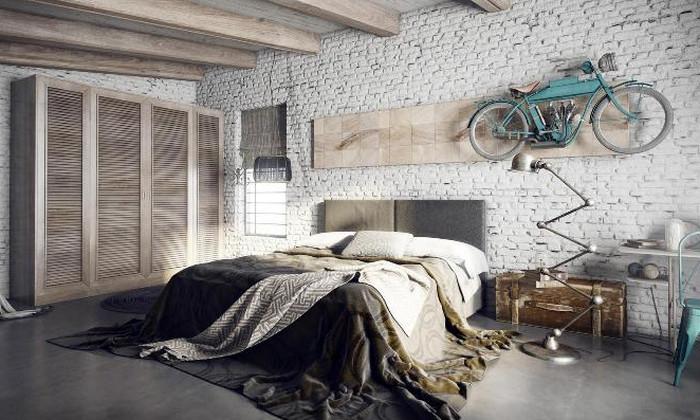 спальня в стиле лофт в серо-коричневой гамме
