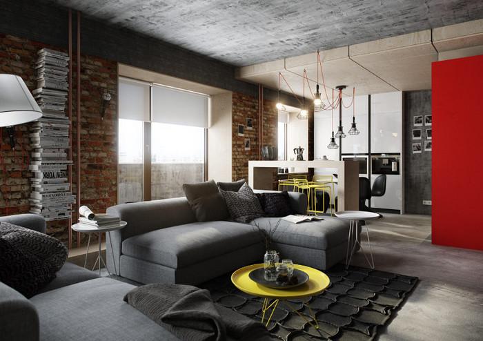 текстильный диван в интерьере лофт