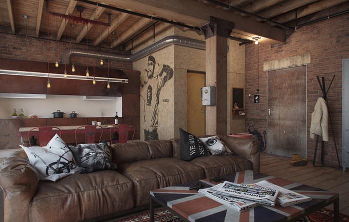 гостиная в стиле лофт с кожаным диваном и деревянными балками