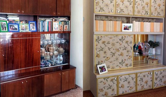 шкаф до и после реставрации пленкой