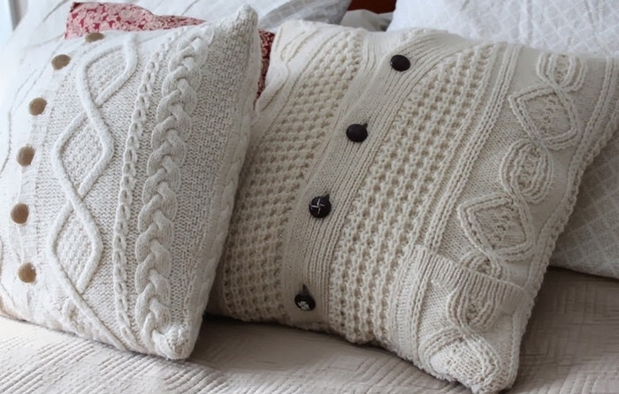чехлы для подушек из свитера