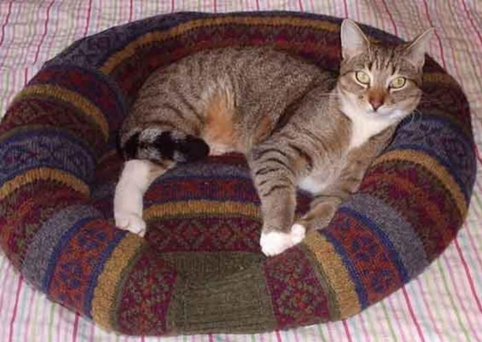 лежак для животного из свитера