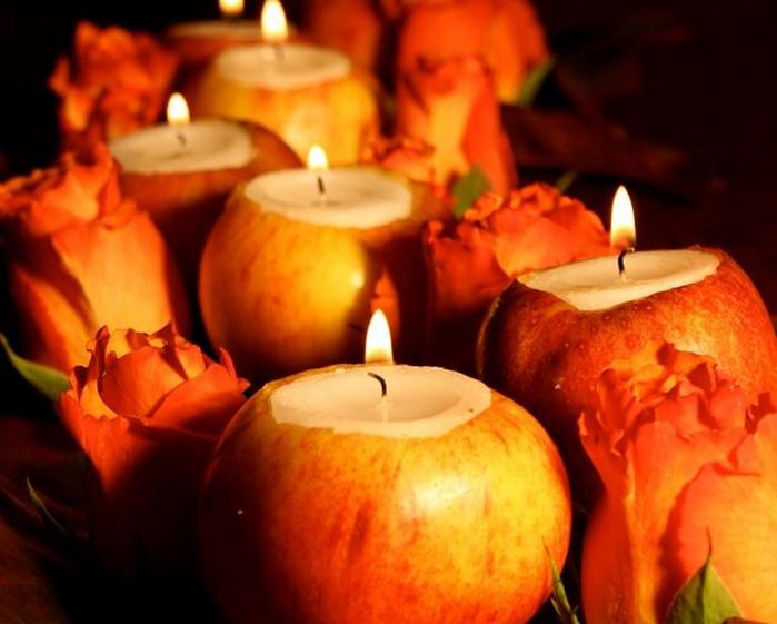 свечи в яблоках