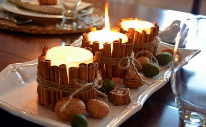 свечи с коричными палочками