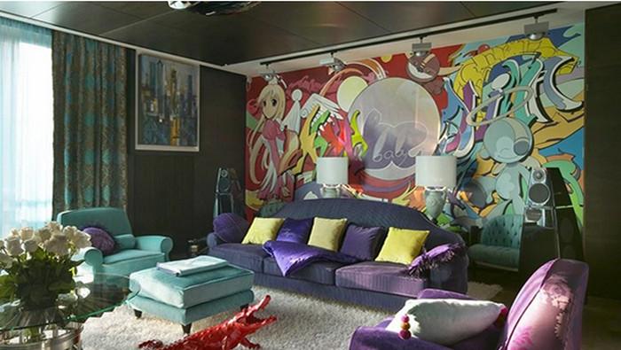 граффити на стене квартиры