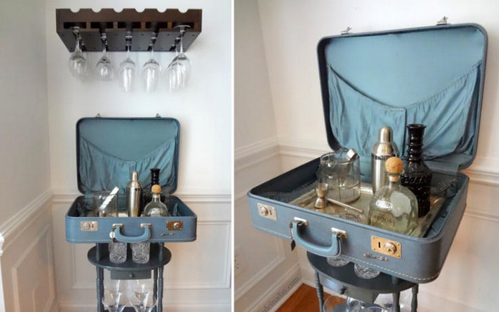 бар с алкогольными напитками из чемодана