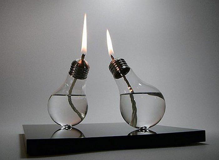 масляная лампа из лампочки