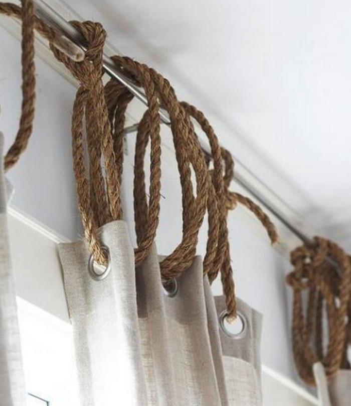 шторы на веревочных кольцах