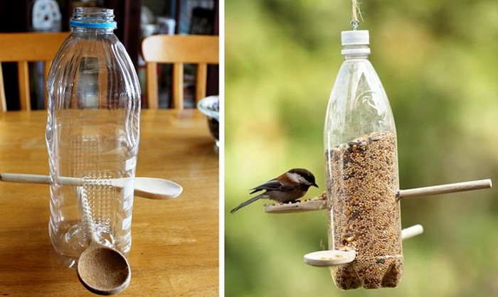пластиковая бутылка с зернами на ветке