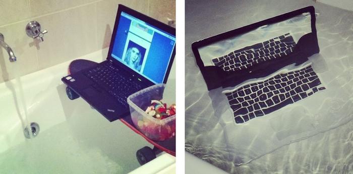 ноутбук в ванной