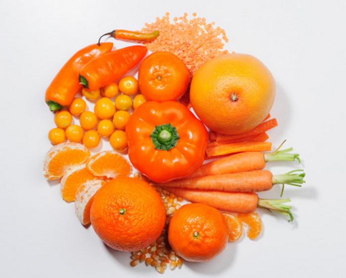оранжевые фрукты и овощи