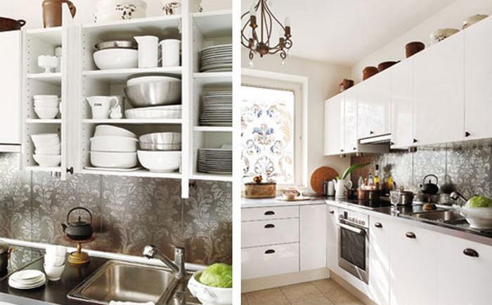 посуда на кухонных шкафчиках