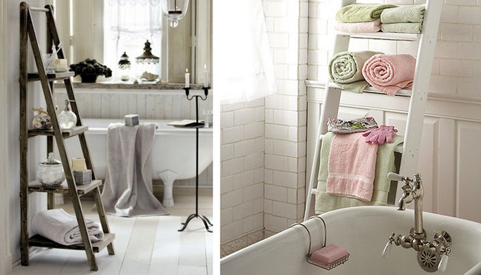стремянка в интерьере ванной