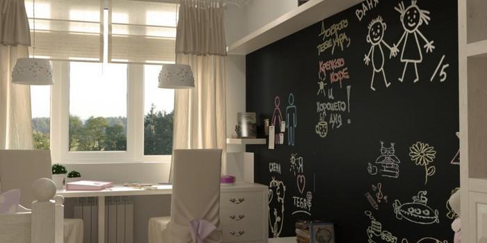 покрашенная грифельной краской стена