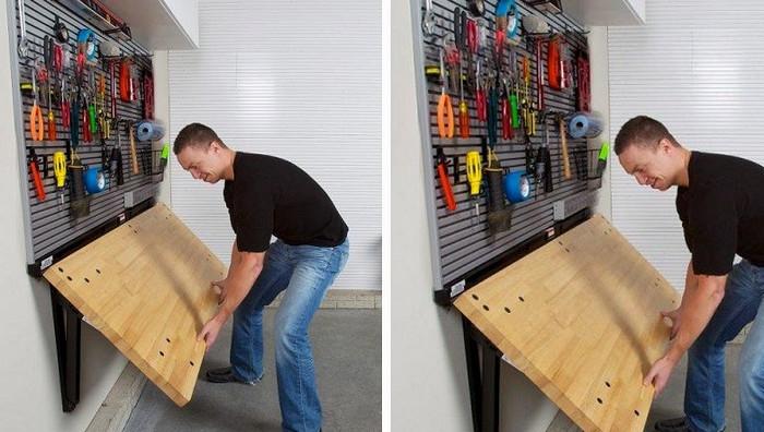 раскладной столик в гараже