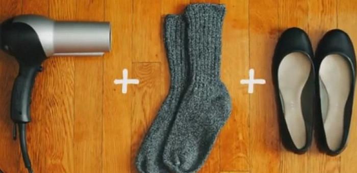 растяжка обуви феном
