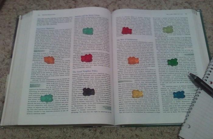 жевательные мишки на развороте книги