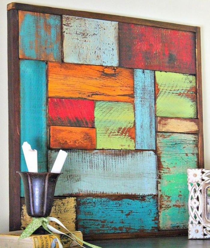 деревянное цветное панно
