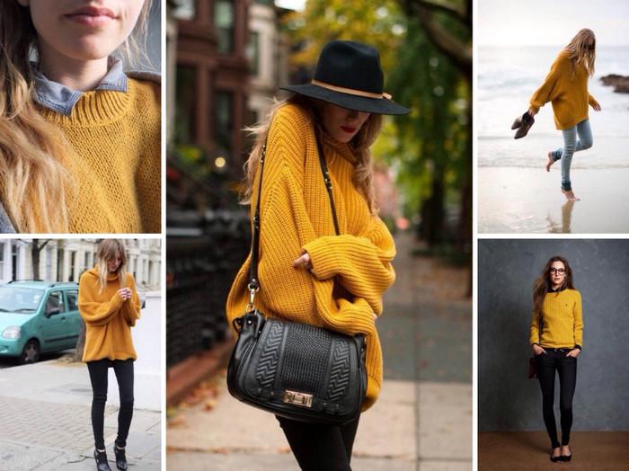 девушка в желтом свитере