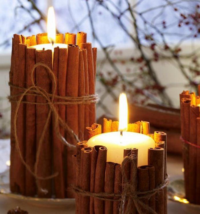 свеча с коричными палочками