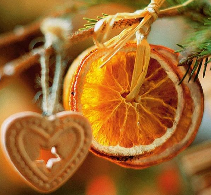елочные игрушки из апельсинов