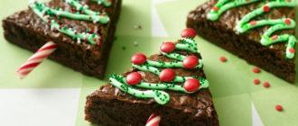 пирожные елочки из шоколадного пирога
